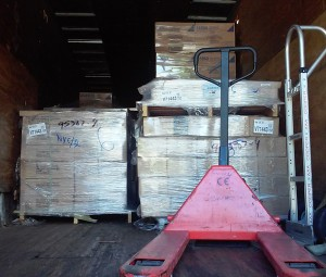 3 pallets of calendars arrive by truck.